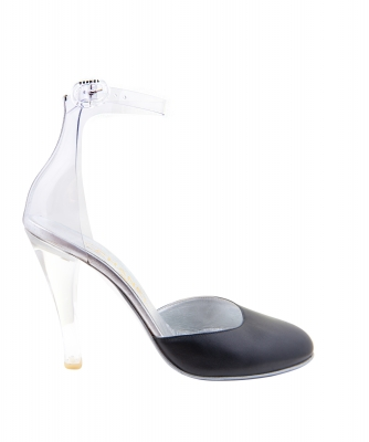 Chanel Black Clear Lucite Ankle Strap Pumps - Chanel