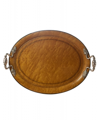 An Oval Empire Tray with Silver  Handles