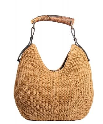 Yves Saint Laurent Woven Straw Mombasa Horn Hobo Bag - Yves Saint Laurent