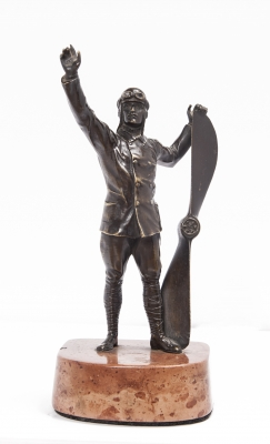 A nice and unusual bronze figure of a pilot from circa 1920