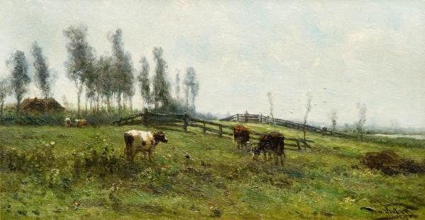 Koeien in een weiland - Johannes Martinus Vrolijk