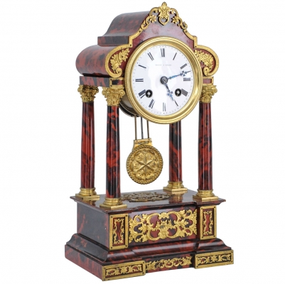 A very attractive small tortoiseshell Table Clock (together with matching dome), by Leroy a Paris, circa 1880