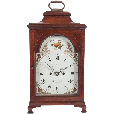 A charming mahogany English country bracket clock by Harrison, cica 1770