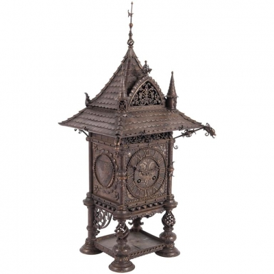 Very Nice and Decorative Wrought Iron Mental Clock, circa 1900
