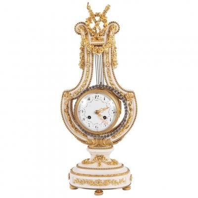 Napoleon III Lyra Shaped Mental Clock with Osculating Pendulum