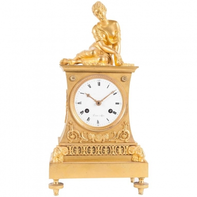 Very Charming French Empire Bronze Gilded Ormolu Clock with Elegant Lady Playing the Dices
