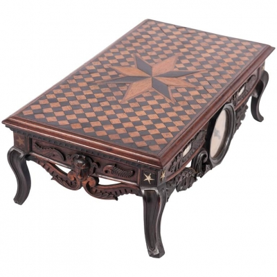 Very Nice Marquetry Inlaid Miniature Desk on Beautiful Curved Feet