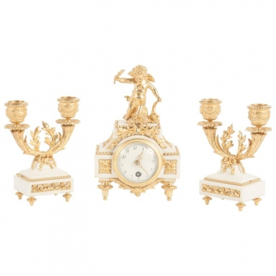 Nice Decorative Miniature Three-Piece White Marble and Ormolu Clock Set