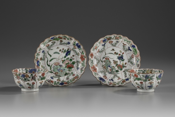A Pair of Famille Verte Teacups and Saucers
