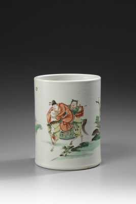 A Famille Verte Brush Pot