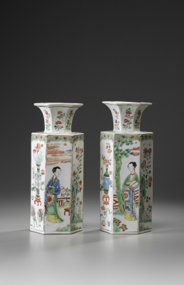 A Pair of Famille Verte Hexagonal Vases