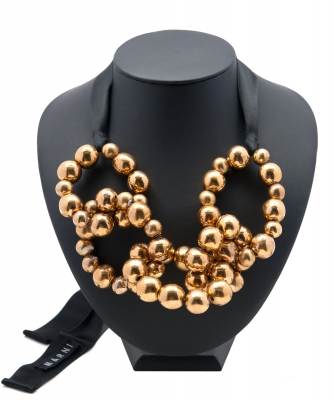 Marni Gold Link Ball Tie Ribbon Necklace  - Marni