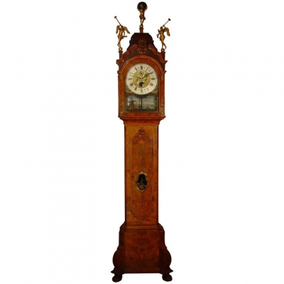 A Dutch burr walnut longcase clock with rare 'swing automaton' by M. Buys Amsterdam, circa 1775.