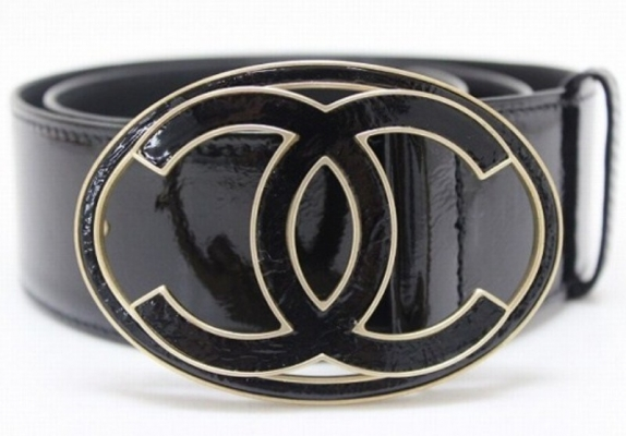 Chanel Black Patent Leather CC Belt - Chanel