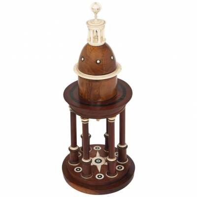 An unusual circular wooden temple dome pillar timepiece clock circa1830