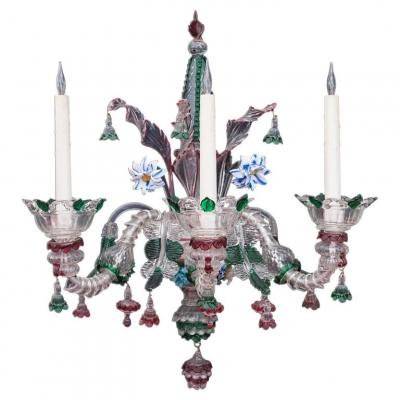 A single decorative three arm Murano wall lamp Featuring three Lights, circa1900
