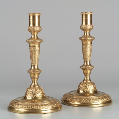 Pair Of French Gilt Bronze Regence Candlesticks