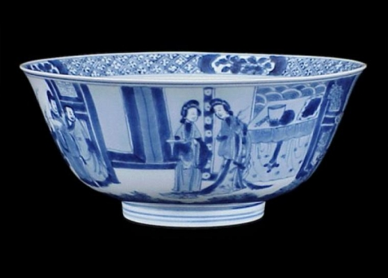 A Kangxi Blue and white bowl decorated with figures in a landscape Qing Dynasty, China