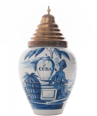 A Dutch Delft Blue and White Tobaccojar 'VOC' 'CUBA'