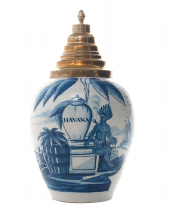 A Dutch Delft Blue and White Tobaccojar 'VOC' 'HAVANA'