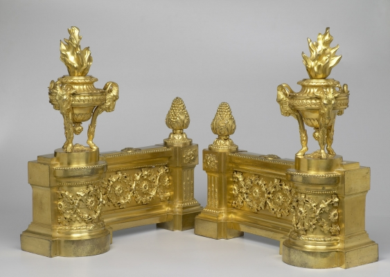 Pair Of French Louis XVI Gilt Bronze Chenets