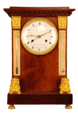 T07 Tableclock with barometer and thermometer