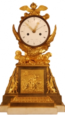 M77 Directoire - 1793-95 - gilt bronze mantle clock, in original condition, eight day duration
