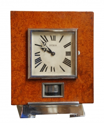 M161 Atmos clock, Amboina wood, J.L. Reutter, number 919, France circa 1930.