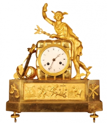 ABS29 French gilt bronze mantel clock, with a gilt statue of 'Mercury/Hermes'