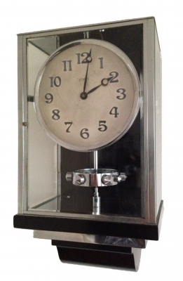 W36 Large Size Nickel Plated Art Deco J. L. Reutter Wall Hanging Three-Glass Atmos Clock.