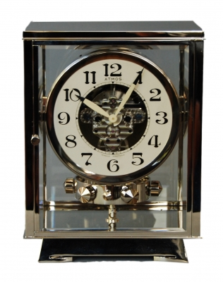 M219 Nickel plated art deco J. L. Reutter four-glass Atmos clock.