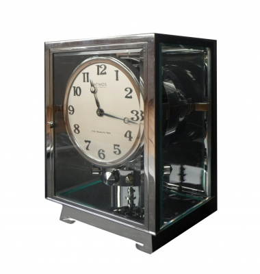 M153 Nikkelen Atmos klok, Reutter no 3258, 5 glazen, Frankrijk ca.1930.