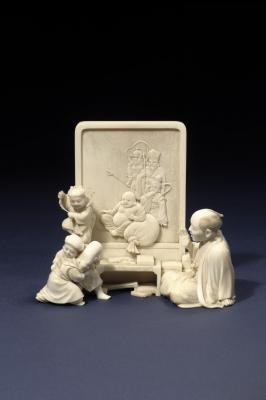 A Japanese  okimono: Ivory sculpture the seven lucky gods, Meiji art