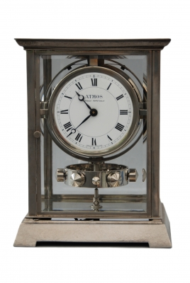 M122 Nickel art deco J.L. Reutter Atmos four-glass atmos clock, small version