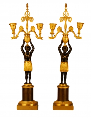 CA13 Directoire gilt and patinated bronze candelabra 'Au Jeune Nègre',