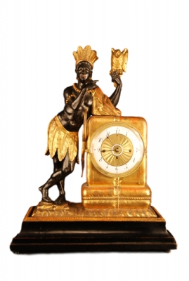 Abs-06 Wooden viennese 'au bon sauvage' clock with moving eyes automaton and music box.