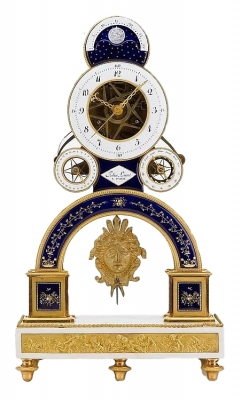 S20 Directoire ormolu and enamel pendule squelette, the movement by Nicolas-Alexandre Folin, enamel by Georges-Adrien Merlet,