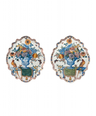A Pair Oval Mirrored Polychrome Dutch Delft Wallplaques