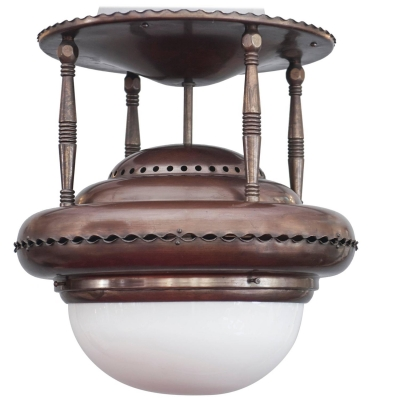A nice and typical Dutch Amsterdam school design ceiling lamp, circa 1920