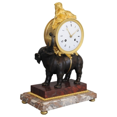 Elephant mantel clock, circa 1750 and later