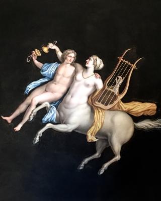 Maestri: Grand Tour gouache of Centaur of the Villa Cicero