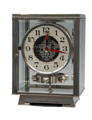 M183 Nickel plated art deco J. L. Reutter four-glass Atmos clock