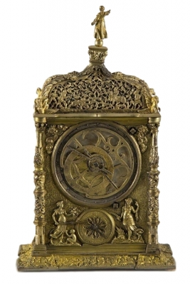 T16 Astronomical Augsburger clock with corner posts, ca. 1850