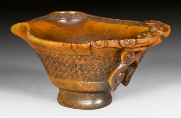 A rhino libation cup, China Qing dynasty antique works of art