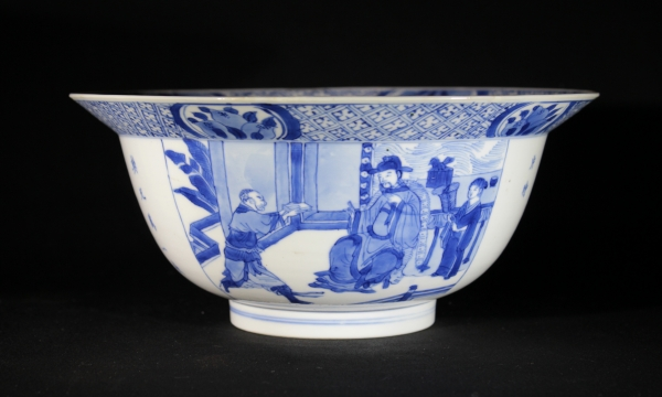 Blue and white Chinese porcelain klapmuts bowl, Qing dynasty Kangxi period ceramics