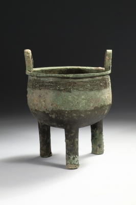 Chinese archaic bronze ding with taotie design, Shang dynasty art from China