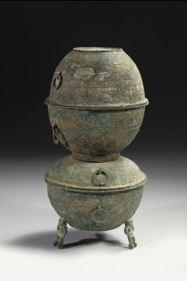 Bronzen yan met beschilderde decoratie, Han dynasty archaisch brons