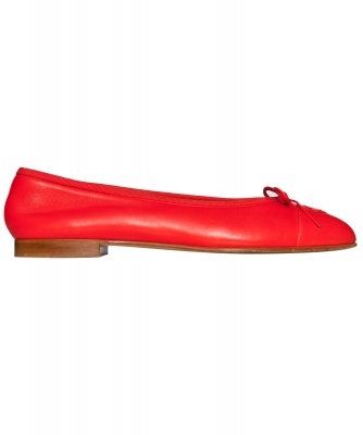 Chanel Red Leather CC Cap Toe Ballet Flats - Chanel