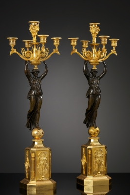 Pair of Empire Candelabra, Paris, ca. 1810