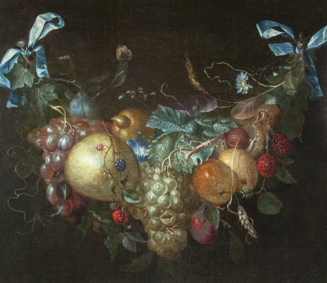 Still life with flower and fruit garland by Pieter Gallis
